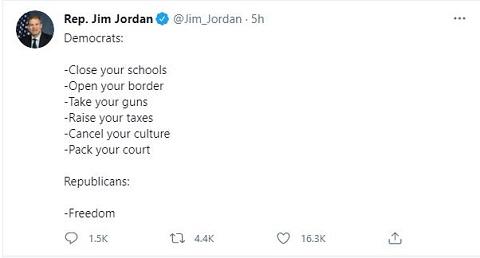 Jim Jordan On Democrat goals - close schools, open border, etc.