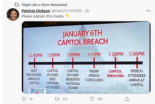 Capitol Breech time line - inconsistent with Trump inciting a riot