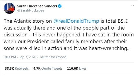 Sara Huckabee Sanders Denies the Atlantic Story