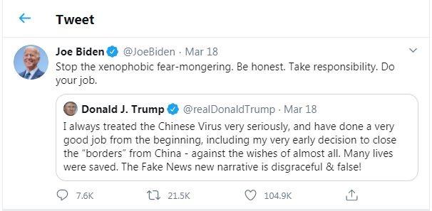 Biden calls Trump Xenophobic because of the China Travel Ban