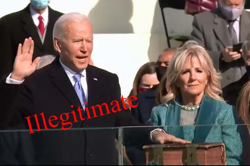 Biden illegitimately takes the oath of office of president