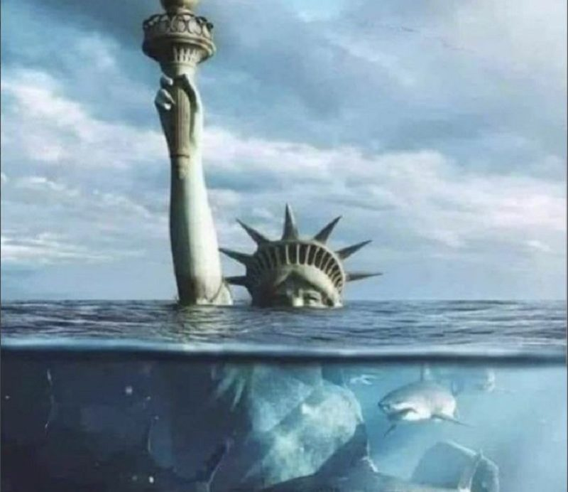Lady Liberty about to drown, be attacked by sharks